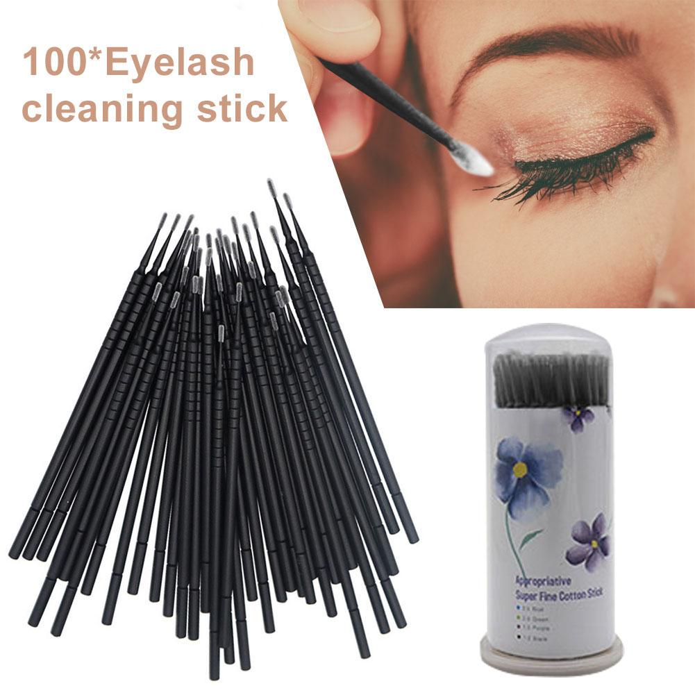 100pcs/set Disposable Cotton Swabs For Eyelash Grafting Brushes Cleaning Swab Hot Natural Eyelashes Remover Applicators