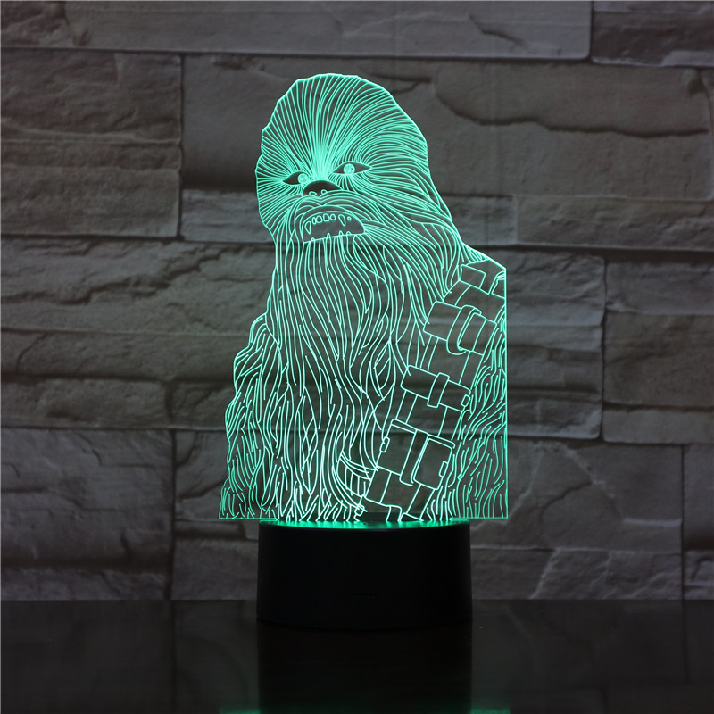 Star Wars Chewbacca 3d Led Night Light Lamp Color Changing Light Home Decoration Kids Nightlight Chewie Desk 3d Lamp Star Wars