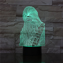 Star Wars Chewbacca 3d Led Night Light Lamp Color Changing Home Decoration Kids Nightlight Chewie Desk