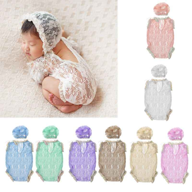 Baby Rompers Newborn Photo Props Baby Boy Girl Summer Clothes Baby Lace Hat Hollow V Backless Infant Photography Accessories