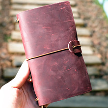 Joyful Time Real Genuine Cowhide Leather Travel Journal Business Notebook Study Diary Kraft White Grid Papers xuanxuan diary white xxl