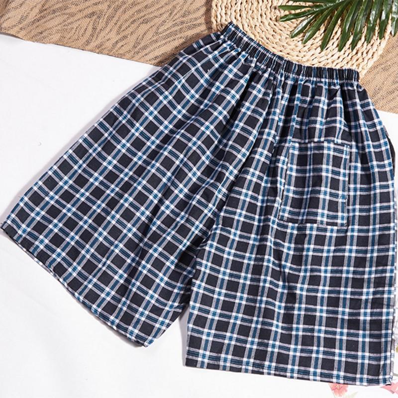 Pajama Men Men's Cotton Trousers And Shorts Double Cotton Gauze Casual Living Pants Beach Pants Cotton Plaid Sleepwear Mens