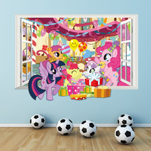 carton horse birthday party poster 3d window wall decals for kids room decorative stickers diy mural art home decor