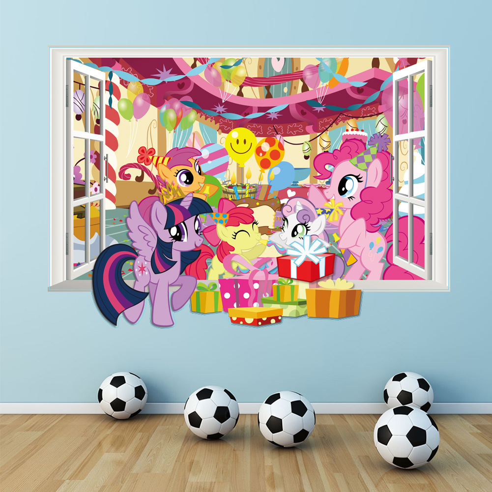 carton horse birthday party poster 3d window wall decals