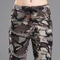 Pantalones de camuflaje de Las Mujeres 2017 Nuevos Pantalones Mujeres Pantalón Ejército Camo pantalones femeninos elásticos pantalones de cintura alta de la cadera hop puls tamaño 3xl
