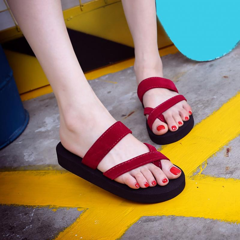 New Solid Black Shoes Sandal Flip Flops Women Wedge Sandals Platform Beach Slippers Zapatillas Chinelo Sandalia
