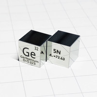 Germanium Polished Cube Ge Luxury Mirror Shining Metal Element Collection Science Experiment 10x10x10mm Density Development