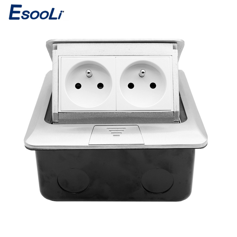 Esooli Aluminum Silver Panel French Standard Pop Up Double Floor Socket 2 Way Electrical Outlets 16A 250V Socket