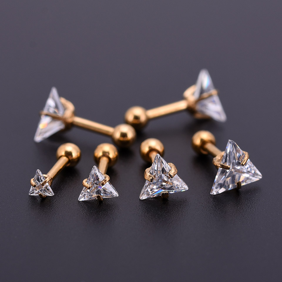 5Pcs Gold Zircon Crystal Round Ball Tongue Lip Bar Ring Stainless Steel Barbell Ear Stud Body Piercing Jewelry