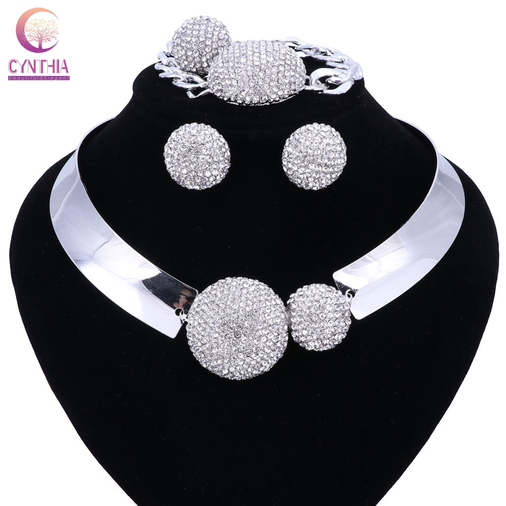 Nouveau luxe Maxi femmes Bijoux cristal déclaration alliage colliers collier Choker bavoir pendentifs Bijoux ensemble collier anneau