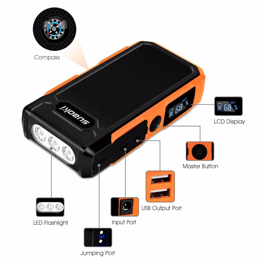 Suaoki U10 автомобиль скачок стартер 20000 мАч Мощность банк Комплекты внешних аккумуляторов перезаряжаемые Батарея светильник 12V для 6L газа 5L диз... - 2