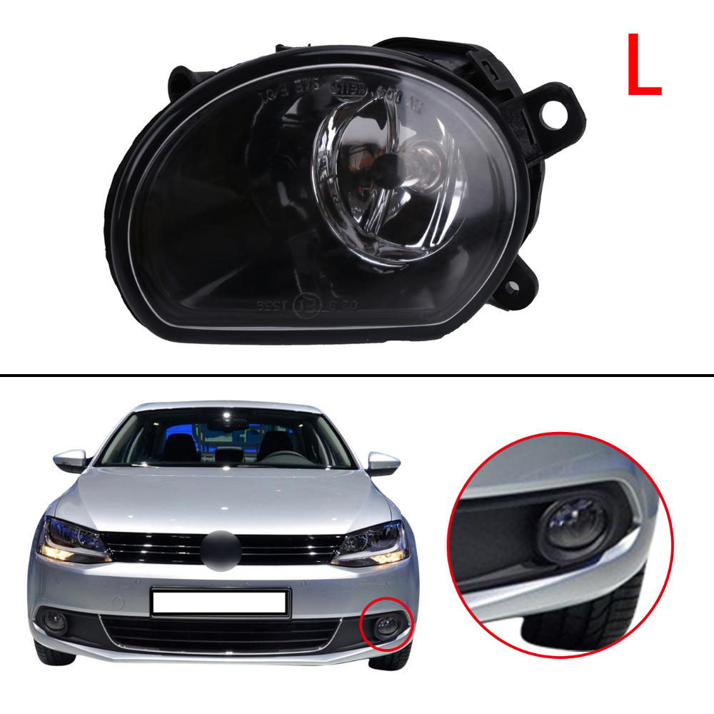 Left Side Front Bumper Clear Lens Fog Lights FogLamp with Bulbs For Audi A8 Quattro 2005 2006 2007 Car Lighting .#PDK583-L for opel astra h gtc 2005 15 h11 wiring harness sockets wire connector switch 2 fog lights drl front bumper 5d lens led lamp