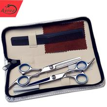 Aviva  6 inch Cutting Thinning Styling Tool Hair Scissors Stainless Steel Salon Hairdressing Shears Regular Flat Teeth Blades