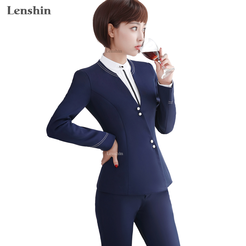 Popular blue pant suit buy cheap blue pant suit lots from for Bureau uniform