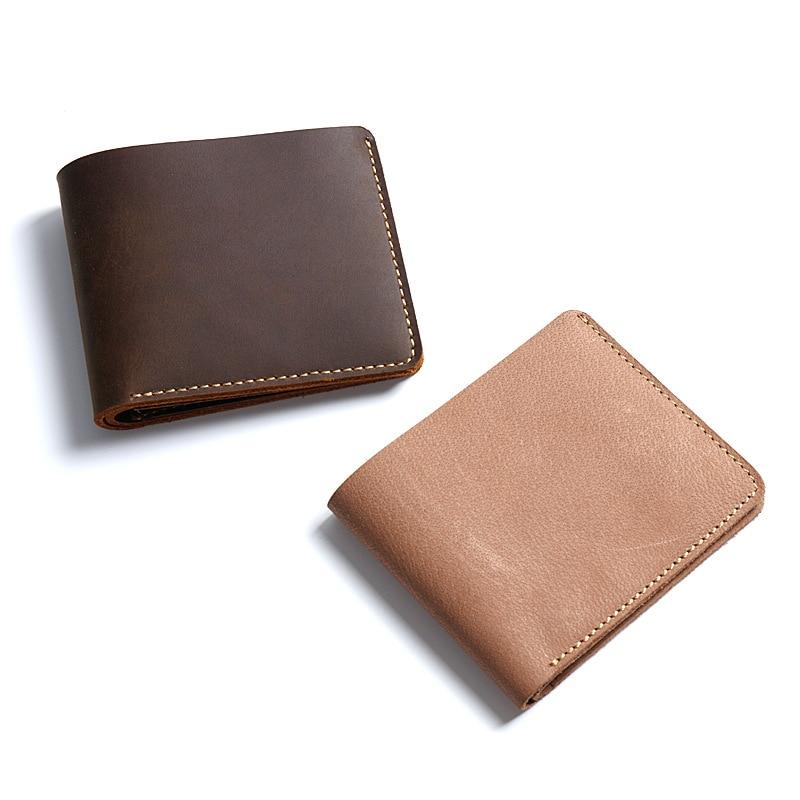 Men Geniune Leather Wallets Retro Short Male Purse Designer Wallet Men High Quality Handmade Leather Goods Prices Dollar