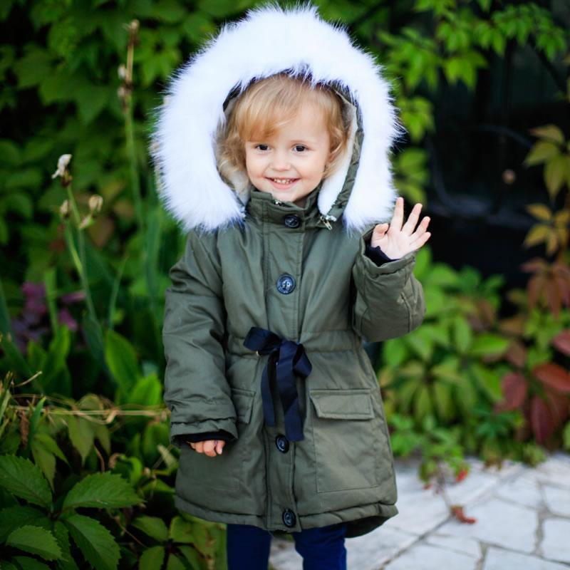 Зимнее детское теплое пальто с капюшоном Корейская куртка с искусственным мехом для маленьких девочек, костюм Детская верхняя одежда, паль