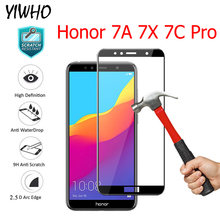 "Full Coverage Tempered Glass Honor 7C AUM-L41 5.7"" 7C Pro For Huawei Honor 7A Pro AUM-AL29 7A 5.45"" 7X Screen Protector Glass(China)"