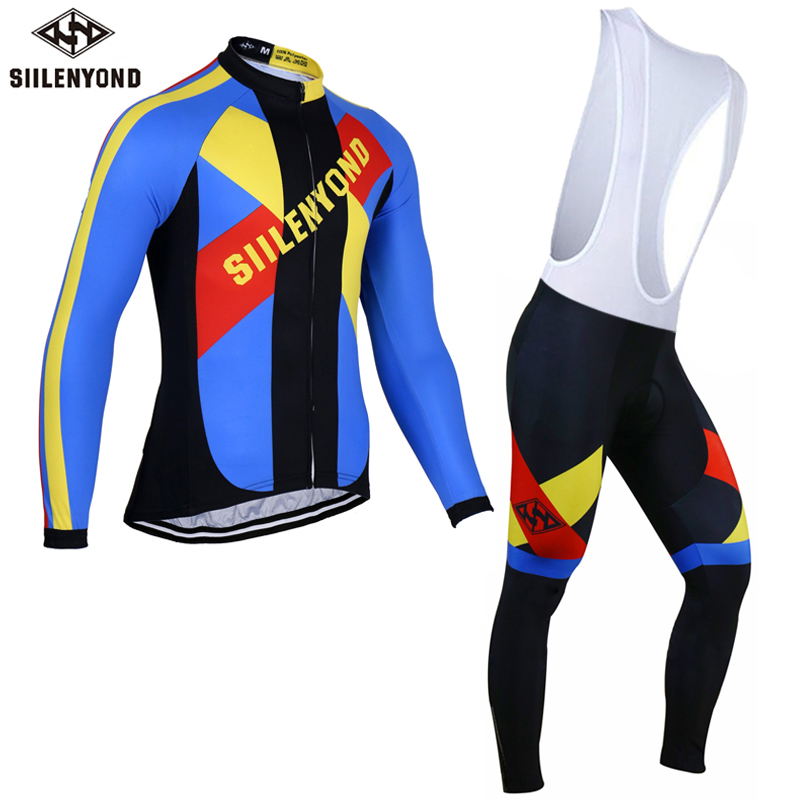ФОТО Siilenyond Winter 2017 Long Sleeve Pro Thermal Fleece Cycling Jersey Set Bicycle Clothing Man's Maillot Invierno Ropa Ciclismo