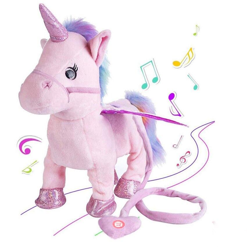 35 cm caminar eléctrica unicornio felpa Animal relleno del juguete música electrónica unicornio juguete para niños regalos de navidad
