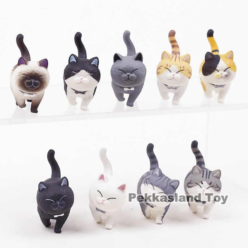 Kawaii dos desenhos animados Encantadores Gatos Neko Mini PVC Figuras de Ação Brinquedos Bonecas de Decoração Para Casa Animais 9 pçs/set