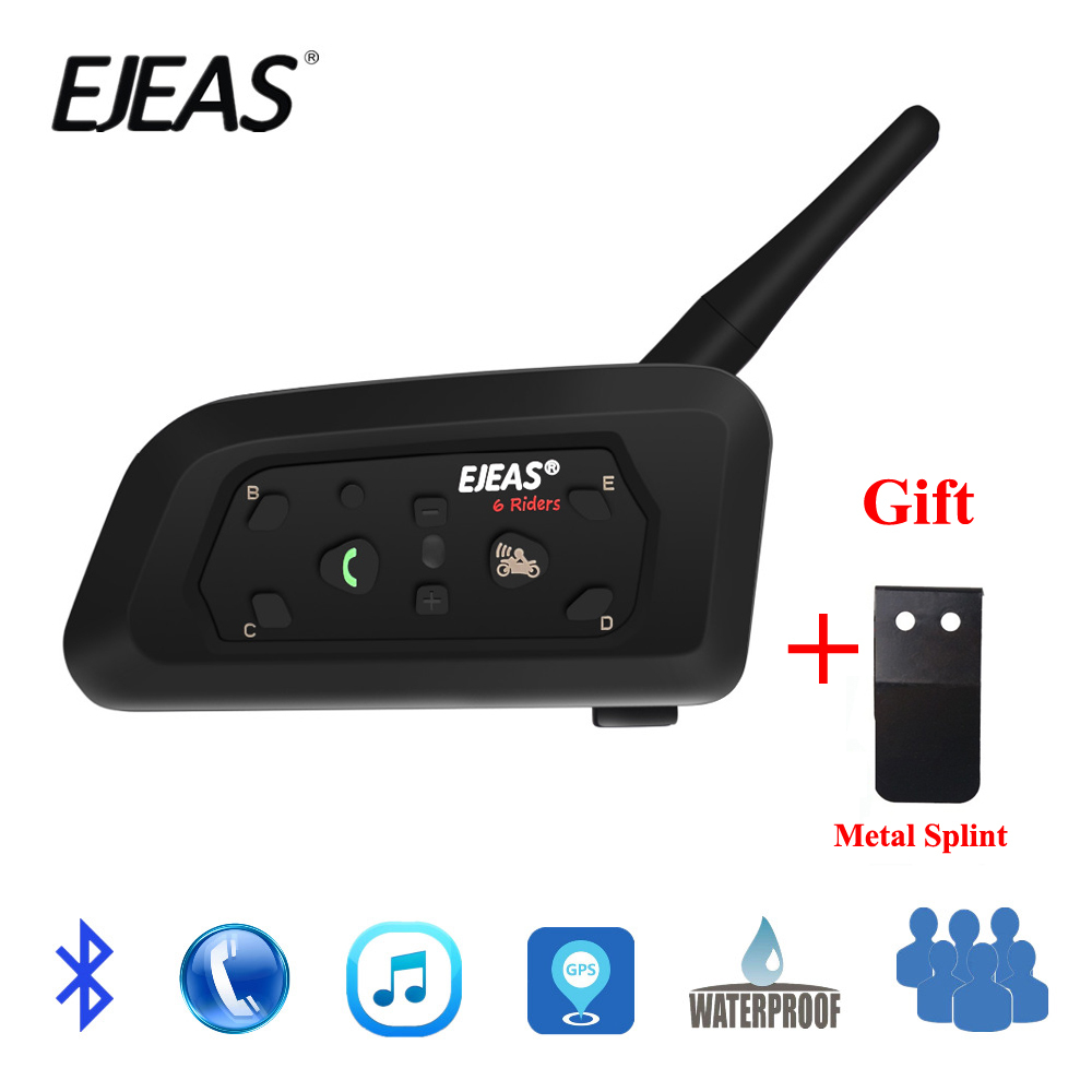 EJEAS V6 PRO Bluetooth Motorcycle Casco MotoBT Communicator Helmet Intercom Headset with 1200m Interphone for 6 Riders + Metal
