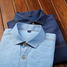 c884d9341b39f AOWOFS denim gömlek Erkekler 2019 Bahar Moda Batı Gömlek Erkekler Uzun Kollu  Pamuk Klasik Kovboy Kot