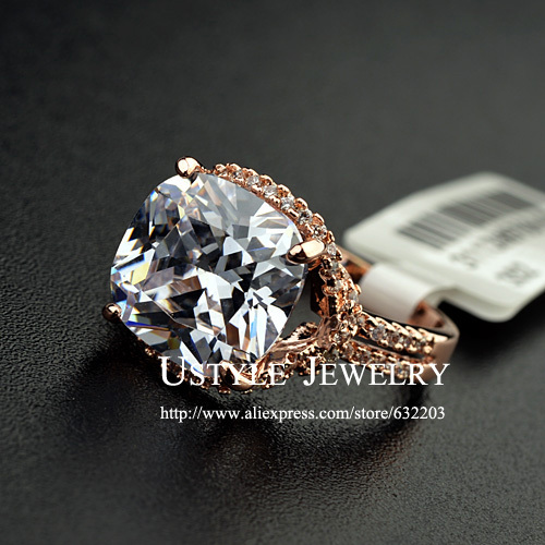 Exclusive! Rose Gold Color Cushion Cut 6ct CZ with Double Pave Band Women Finger Rings