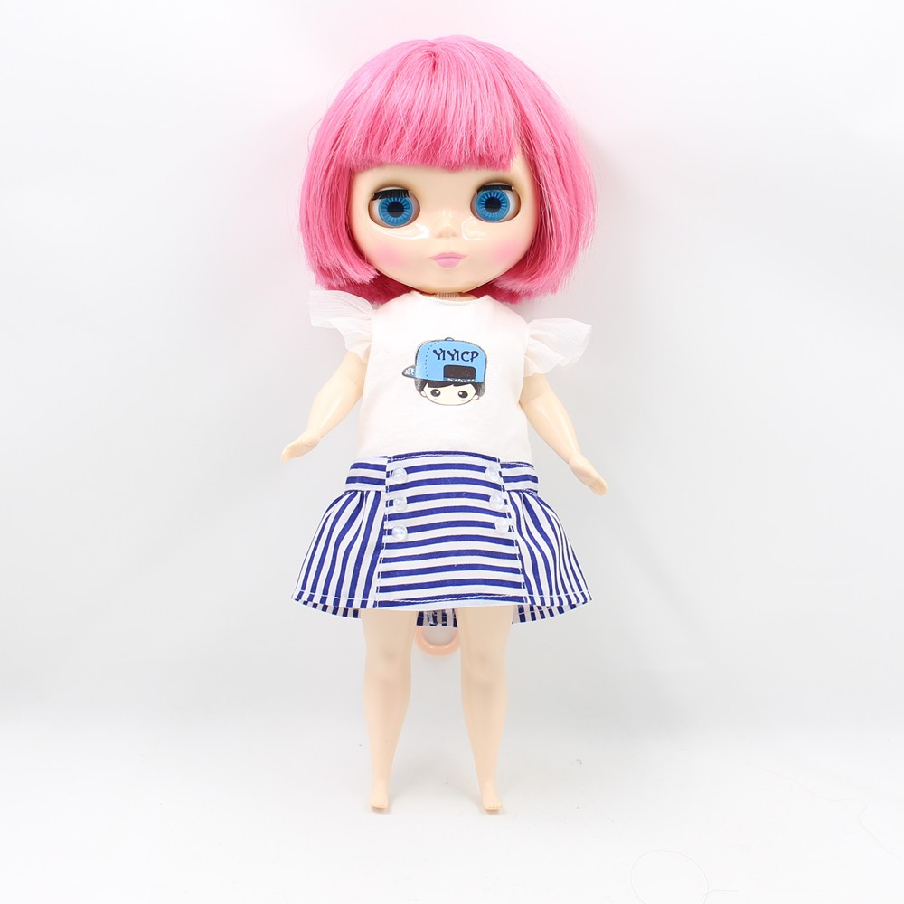 Neo Blythe Doll Plump Doll Dress White Blue Suit 3