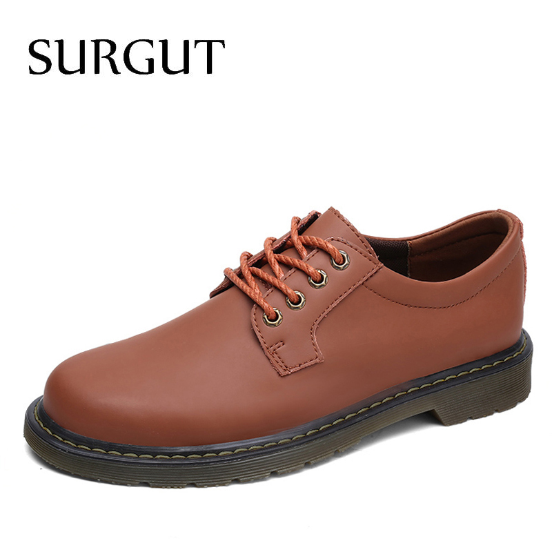 SURGUT Brand Fashion Autumn Spring Breathable Working Shoes High Quality Genuine Leather Shoes Men Oxfords Lace-up Men Shoes genuine leather men shoes spring casual shoes 2016 autumn leather shoes breathable flat shoe lace up outdoor oxfords wholesale