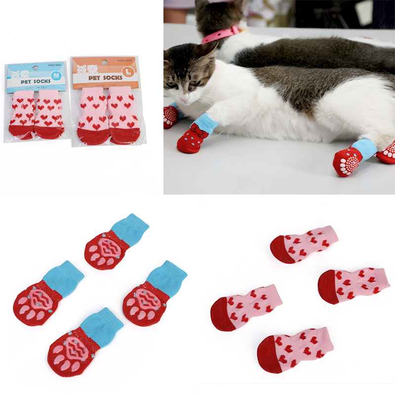 4 Pcs/set Cute Indoor Pet Dog Socks Soft Quality Cotton Knitting Warm Antiskid Paws Bottom Dog Cat Shoe Socks