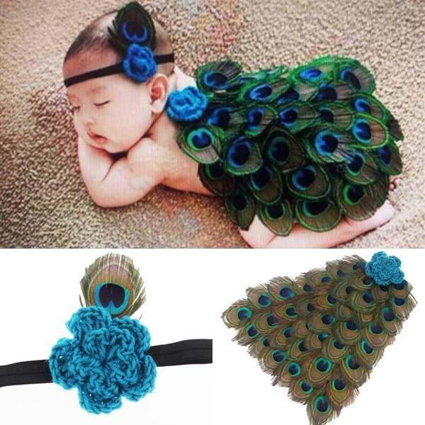 Nueva Pluma Del Pavo Real Diseño Newborn Fotografía Atrezzo Traje Traje Lindo del bebé Hairband de La Venda + Cubre Apoyos de la Foto