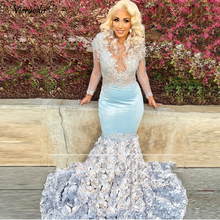 Pretty 3D Rose Flower Mermaid Evening Dresses 2019 See Thru Full Sleeves Lace Sexy Long Prom Gowns V-neck Plus Size Party     1