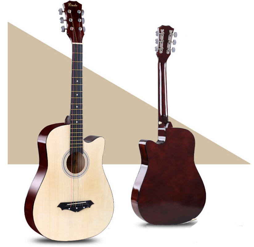 купить Top Quality 38 Guitar Acoustic Guitar Folk 6-String Guitar 38 inch Spruce Colour for Beginner Free Shipping AGT01 онлайн
