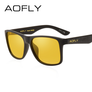 AOFLY BRAND DESIGN Night Vision Glasses Polarized Sunglasses Men Yellow Anti Glare Vintage Driving Sun Glasses Goggles UV400