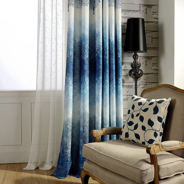 Blue Purple Blackout Curtains For The Bedroom Polyester Cotton Printed Modern Living Room Window