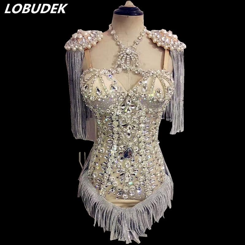 Ленточки кристаллы боди настроены сцена камень певица танцор женский костюм для ночного клуба вечерние выпускного вечера вечерние