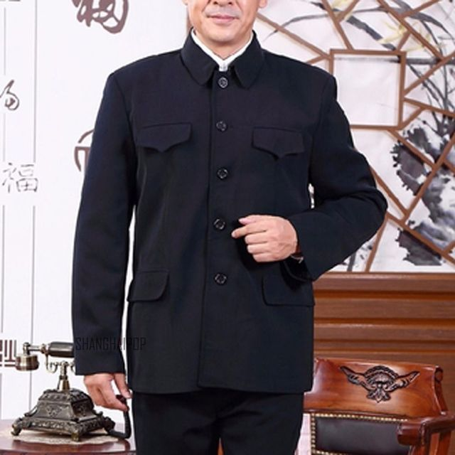 Men Single Breasted Mao Jacket Chinese Tunic Blazer Coat Zhongshan Slim Fit New 058-096
