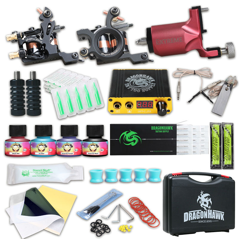 Dragonhawk Tattoo Kit Rotary Tattoo Machine Lining Shading Guns Professional Tattoo Power Box Tattoo Grips Kit Set
