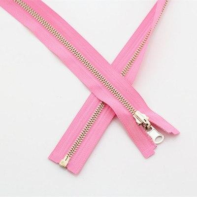 Alipress 5#90 см длинный открытый конец молния светильник золотые зубы металлические молнии для DIY шитья пуховик Куртка - Цвет: pink