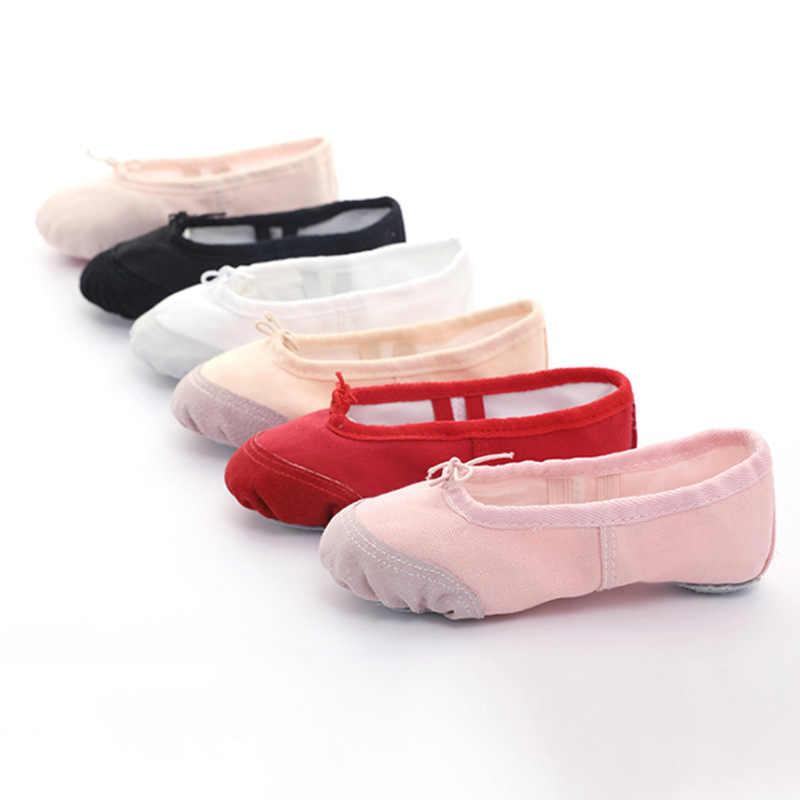 Professional บัลเล่ต์รองเท้าเด็กหญิงผ้าฝ้ายผ้าใบบัลเล่ต์เต้นรำรองเท้าเด็กยิมนาสติกโยคะเต้นรำรองเท้า