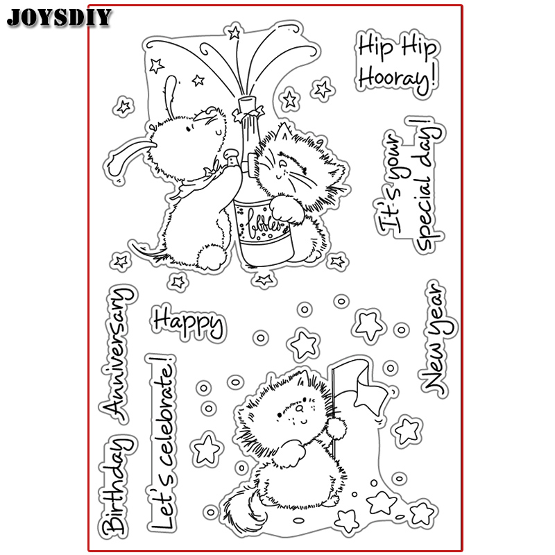 HIP HIP HOORAY BIRTHDAY CELEBRATE Scrapbook photo cards account rubber stamp clear stamp transparent stamp Handmade card stamp hip hip hooray 2 2ed sb d