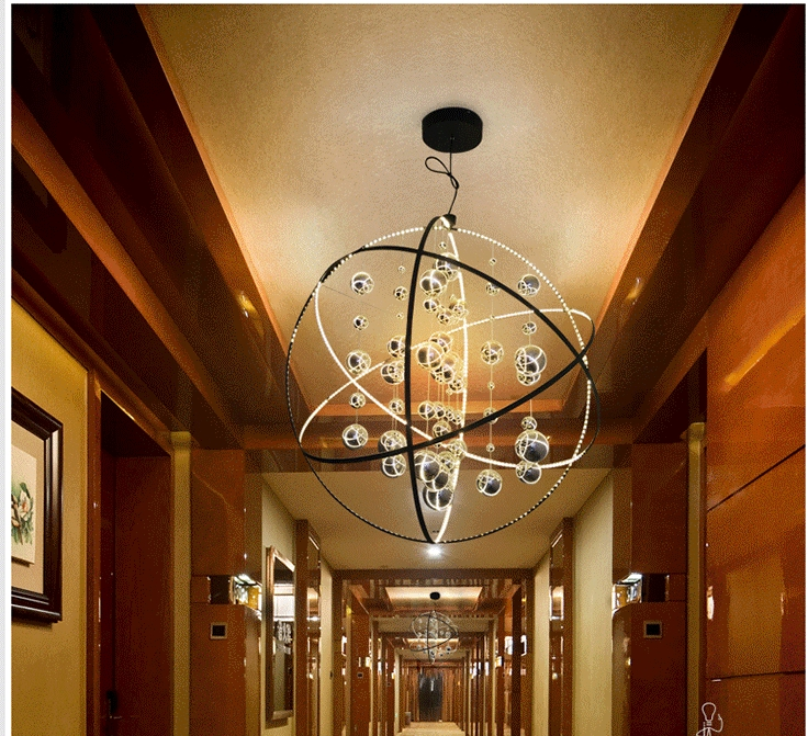 Led Chandelier Lighting Ball Glass Large Lantern Iron Drop Modern Light Balls Northern European Lamp