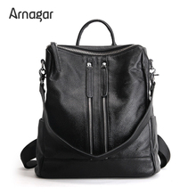 Arnagar Genuine Leather Backpack Women 2016 Designer bags High Quality New Casual Black School Bags For Teenagers sac a dos