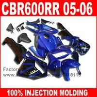 Custom free Injection Molding for HONDA CBR 600RR 2005 2006 CBR600RR fairings kit 05 06 blue black aftermarket fairing set