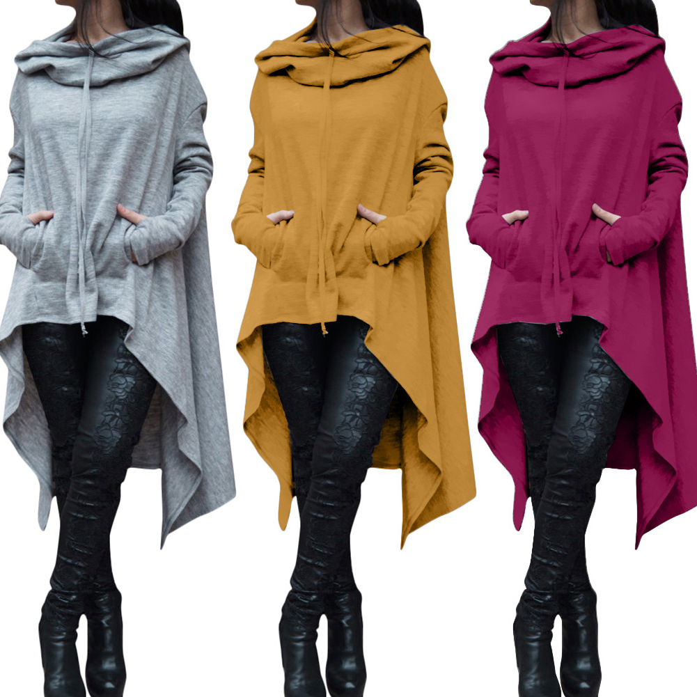 Women Batwing Hooded Asymmetric Casual Loose Coat Pullover Poncho Cape Blouse Women's Clothing