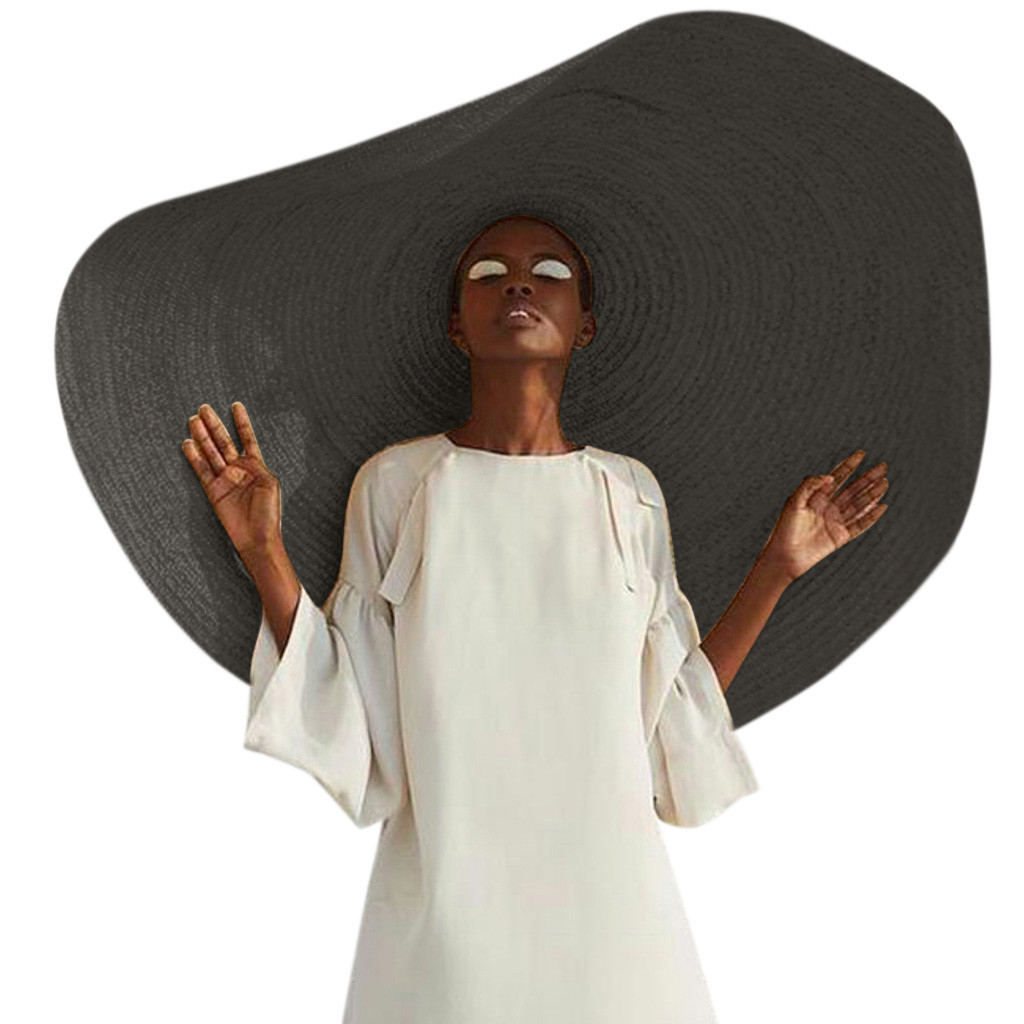 Модная большая пляжная шляпа от солнца с защитой от ультрафиолета, складная соломенная Кепка, летняя соломенная шляпа с большими широкими п...