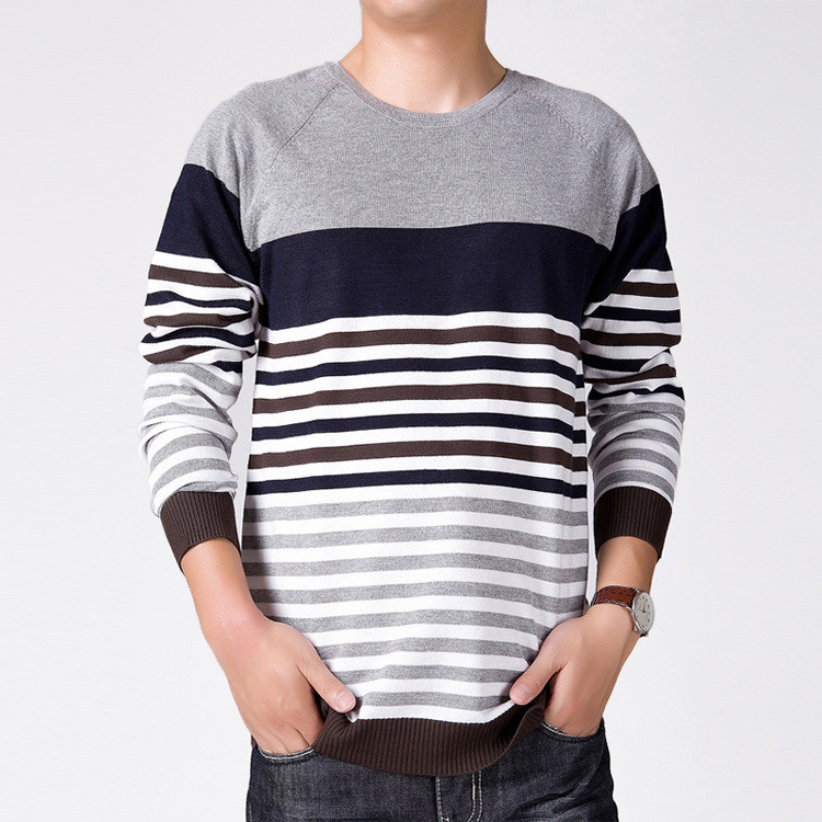 bba7ddaa2c09eb Mens Striped Sweater 2015 New Fashion Knitting Pattern O Neck Pullover Men  Long Sleeve Slim Sueter Mens Sweater M XXL-in Pullovers from Men s Clothing  on ...