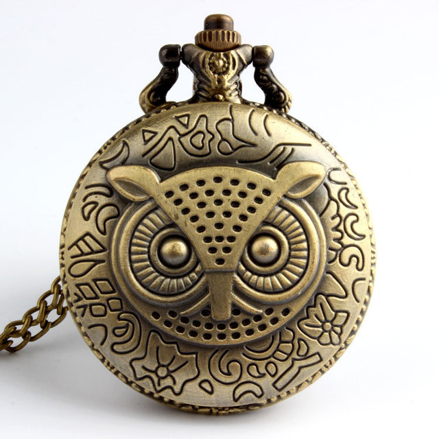 Bronze Night Owl Necklace Quartz Antique Vintage Pocket Watch Chain Men Dropship