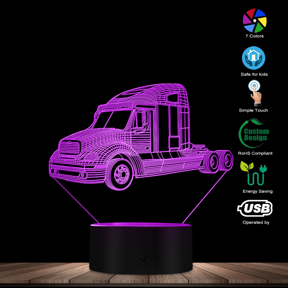 Fashion Truck Car LED Night Lamp Classic Pickup Truck Lighting Art Decor Vintage Automobile 3D Table Lights Gift For Truckers