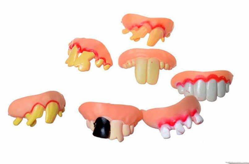 1ピース衣装パーティー醜い炎症を起こしひどく着用ゴム偽歯面白いおもちゃ子供大人遊びジョーク面白い歯おもちゃギャグランダムカラー